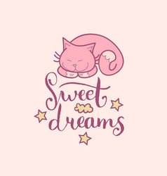 Sweet dreams hand lettering cute vector