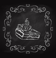tasty piece of cake icon vector image