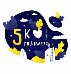 Thank you 5k followers post vector