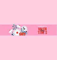 valentines day pink flower bouquet gift banner vector image