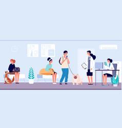Veterinary clinic veterinarian services reception vector