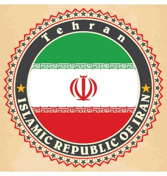 Vintage label cards of Iran flag vector image