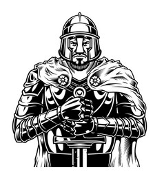 Vintage monochrome medieval warrior vector