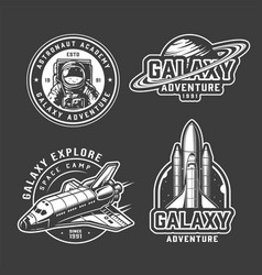 vintage space exploration emblems set vector image