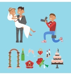 Wedding couple and photographer characters vector image
