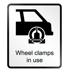 Wheel Clamp Information Sign vector image