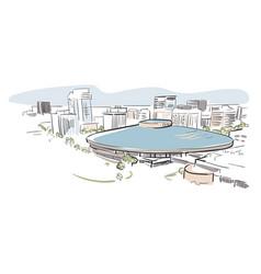 wichita kansas sketch line usa landscape hand vector image