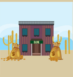 wild west bank building template vector image