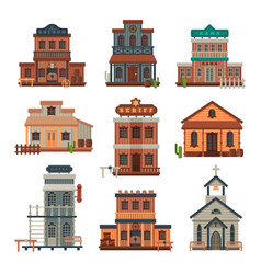 wild west wooden buildings collection bank vector image