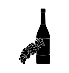 Wine bottle and grapes icon image vector