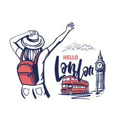 woman tourist waving her hand to london travel vector image