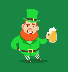 cute cartoon dwarf leprechaun standing with mug of vector image