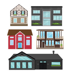 houses in flat style isolated set vector image vector image