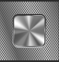 metal square button on stainless steel perforated vector image vector image