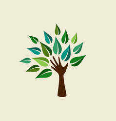green hand tree for nature care vector image vector image