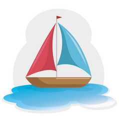 colorful sailboat icon vector image