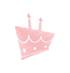 drawing pink birthday cake sweet vector image