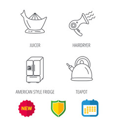Hair-dryer teapot and juicer icons vector