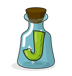 J in retro laboratory flask bottle Letter in old vector image
