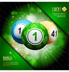 lucky clover bingo ball explosion on green vector image vector image