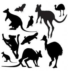 australian animals silhouettes vector image vector image