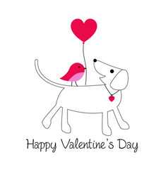 cute dog and bird valentine with baloon vector image vector image