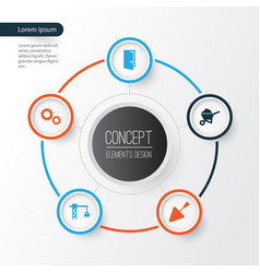 industry icons set collection of cogwheel carry vector image vector image