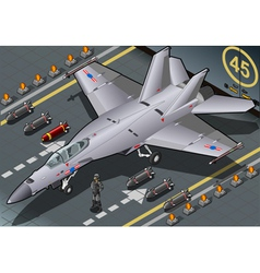 Isometric Fighter Bomber Landed in Front View vector image vector image