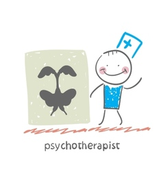 Psychotherapist shows a picture test vector