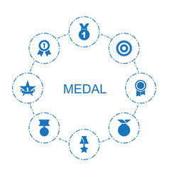 8 medal icons vector