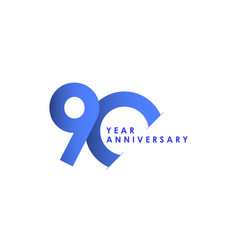 90 years anniversary celebration blue gradient vector