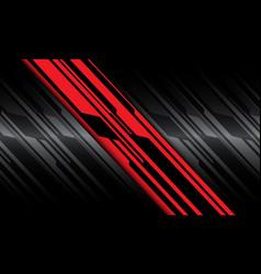 Abstract red black line slash grey metallic cyber vector