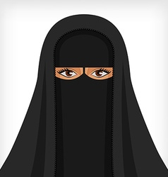Beautiful muslim woman in black niqab vector image