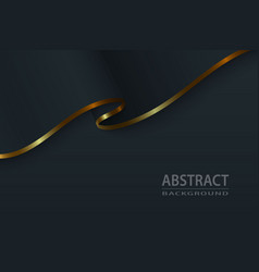 Black silk luxury background with gold elements vector