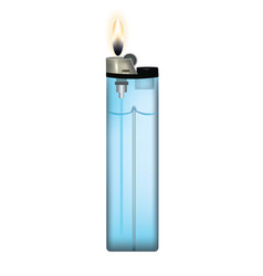 blue plastic lighter with fire vector image