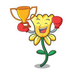 boxing winner daffodil flower mascot cartoon vector image