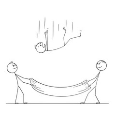 Cartoon falling man or businessman and two men vector