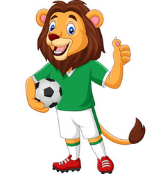 cartoon lion soccer showing thumb up vector image
