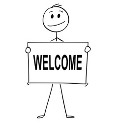 Cartoon of man or businessman holding sign with vector