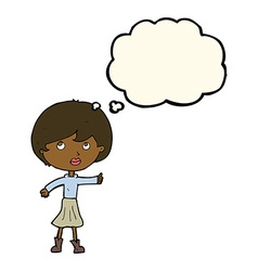 Cartoon woman asking question with thought bubble vector