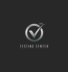 Check mark logo silver testing software or web app vector