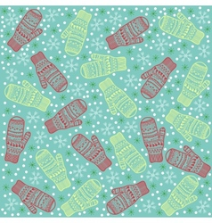 Christmas background mittens vector image