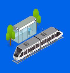 city public transport tram 3d isometric view vector image