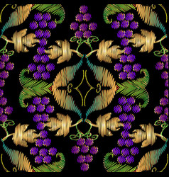 colorful embroidery grapes baroque 3d seamless vector image