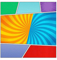 Comic book page colorful backgrounds set vector