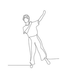 Continuous one line dancing woman with curly hair vector