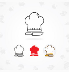 Cooking icon icon cooks hat with knife vector