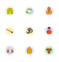 Country of India icons set pop-art style vector