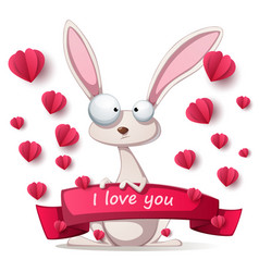 Crazy rabbit - valentine day vector