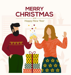 cristmas cards design flat 5 vector image